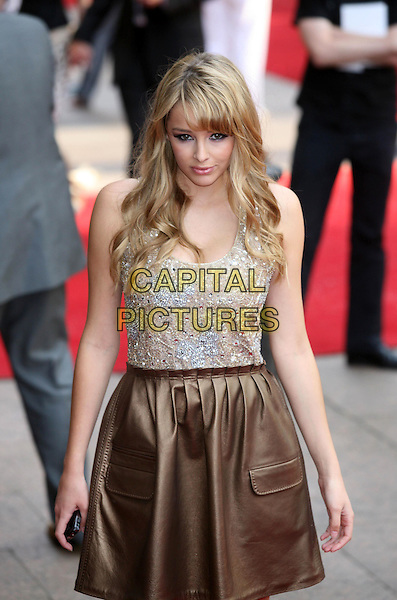 "KEELEY HAZELL.Arrivals at the ""Sex And The City: The Movie"" World Premiere, Odeon Leicester Square, London, England, UK. .May 12th 2008 .SATC half length gold dress silver beaded top skirt .CAP/DS.©Dudley Smith/Capital Pictures"