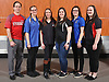 The 2017 Newsday All-Long Island girls bowling team poses for a group portrait during the All-Long Island photo shoot at company headquarters on Monday, March 27, 2017. From left: Coach Wayne Berbert of Syosset, Alexa Messina of Valley Stream Central, Julia Bocamazo of East Islip, Amanda Naujokas of Sachem North, Skylar McGarrity of North Babylon and Hannah Skalacki of Middle Country.