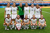The USWNT lines up before playing at Qinhuangdao Stadium. The US defeated Japan, 1-0, during first round play at the 2008 Beijing Olympics in Qinhuangdao, China.