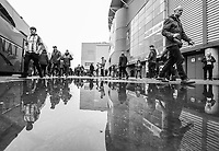 Fans make their way to their turnstiles outside the John Smith's Stadium, home of Huddersfield Town<br /> <br /> Photographer Alex Dodd/CameraSport<br /> <br /> The Premier League - Huddersfield Town v Swansea City - Saturday 10th March 2018 - John Smith's Stadium - Huddersfield<br /> <br /> World Copyright &copy; 2018 CameraSport. All rights reserved. 43 Linden Ave. Countesthorpe. Leicester. England. LE8 5PG - Tel: +44 (0) 116 277 4147 - admin@camerasport.com - www.camerasport.com