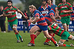 Bruce John breaks upfield  after taking the pass from Gary Saifoloi. Counties Manukau Premier rugby game between Waiuku & Ardmore Marist played at Waiuku on Saturday May 10th 2008..Ardmore Marist won 27 - 6 after leading 10 - 6 at halftime.