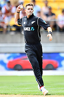 Blackcaps bowler Tim Southee in action while bowling during the Third ODI game between Black Caps v England, Westpac Stadium, Wellington, Saturday 03rd March 2018. Copyright Photo: Raghavan Venugopal / © www.Photosport.nz 2018