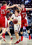 UNCASVILLE CT. 17 March 2018-031718SV06-#15 Brendan Stafatrom of Cromwell tries to pass as #25 Eric Odenwaelder  and #11 Ethan Collins of Wamogo defend during 2nd quarter action of the CIAC Division V Finals at Mohegan Sun Arena in Uncasville Saturday. Wamogo lost 58-40.<br /> Steven Valenti Republican-American
