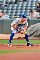 Ryan O'Hearn (21) of the Omaha Storm Chasers on defense against the Salt Lake Bees in Pacific Coast League action at Smith's Ballpark on May 8, 2017 in Salt Lake City, Utah. Salt Lake defeated Omaha 5-3. (Stephen Smith/Four Seam Images)