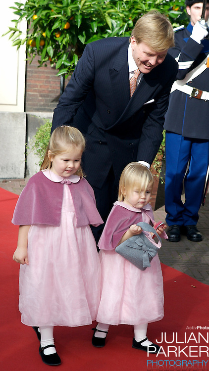 The Christening of Princess Ariane of The Netherlands, The youngest daughter of Crown Prince Willem Alexander and Crown Princess Maxima of The Netherlands at The Kloosterkerk in The Hauge, Holland..Crown Prince Willem Alexander with his two other daughters Princess Catharina Amalia and Princess Alexia.