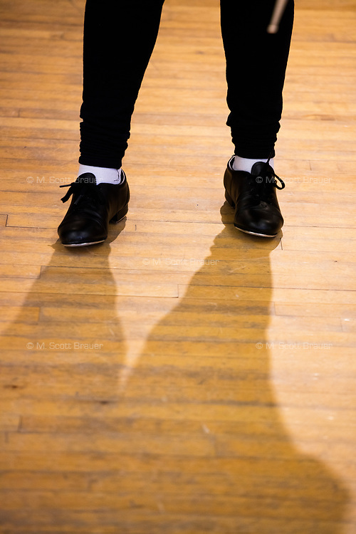 Students line up at the beginning of a Tap Performance class at the Holmes Athletic Center at Simmons College, one of the Colleges of the Fenway, in Boston, Massachusetts, USA, on Mon., March 13, 2017.