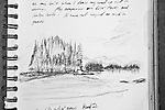Barkley Sound, Vancouver Island, view from Hand Island, Joel Rogers, Journal Art 2000, charcoal on paper,
