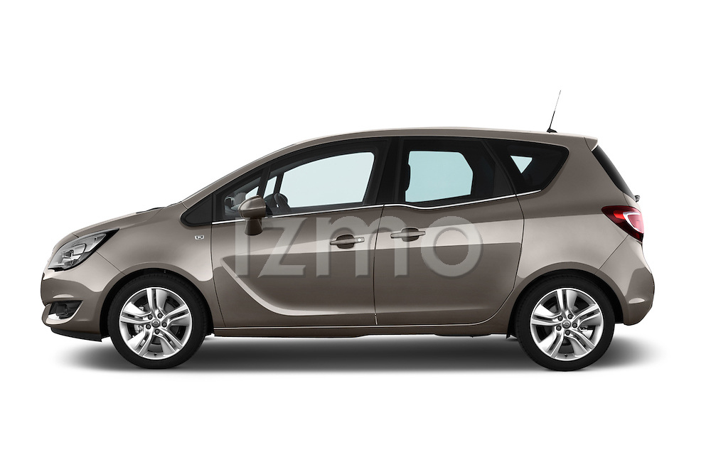 Driver Side Profile View 2014 Opel MERIVA Cosmo 5 Door Mini MPV 2WD Stock Photo