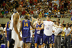 Spain's Serge Ibaka, Jose Manuel Calderon and Victor Claver celebrate during friendly match.July 24,2012. (ALTERPHOTOS/Acero)