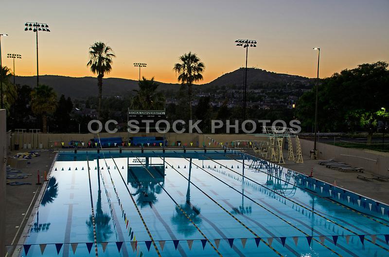 Soka University Swimming Pool at Sunset