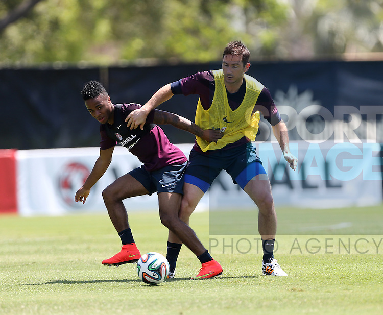 England's Raheem Sterling tussles with Frank Lampard during training<br /> <br /> England Training &amp; Press Conference  - Barry University - Miami - USA - 06/06/2014  - Pic David Klein/Sportimage
