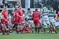 Ealing Trailfinders score a try during the Greene King IPA Championship match between Ealing Trailfinders and Jersey Reds at Castle Bar , West Ealing , England  on 22 December 2018. Photo by David Horn.