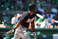 Atlanta Braves outfielder Zoilo Almonte (14) during a Spring Training game against the Boston Red Sox on March 17, 2015 at JetBlue Park at Fenway South in Fort Myers, Florida.  Atlanta defeated Boston 11-3.  (Mike Janes/Four Seam Images)