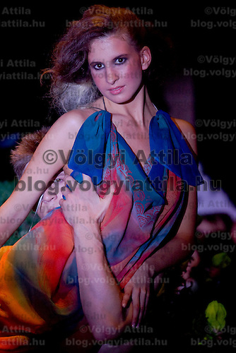 Model presents creation of designer Lucia S Hegyi, a member of the Hungarian Fashion Association. Event organized during the Night of Museums at the Kiscelli Museum.