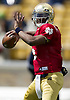 April 20, 2013:  Notre Dame Fighting Irish quarterback Everett Golson (5) passes the ball in action during the Notre Dame Blue-Gold Spring game at Notre Dame Stadium in South Bend, Indiana.  The Defense topped the Offense by a score of 54-43.