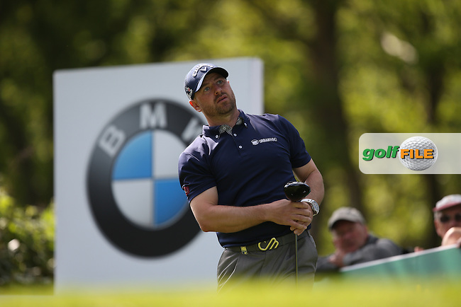 Craig Lee (SCO) drives from the 17th during Round One of the 2015 BMW PGA Championship over the West Course at Wentworth, Virginia Water, London. 21/05/2015Picture David Lloyd, www.golffile.ie.