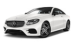 Stock pictures of low aggressive front three quarter view of 2017 Mercedes Benz E Class AMG Line 2 Door Coupe