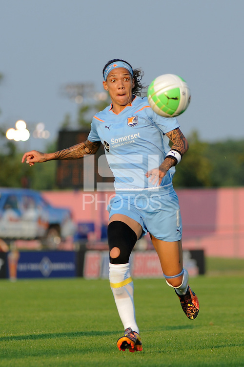 Natasha Kai (6) of Sky Blue FC. The Philadelphia Independence defeated Sky Blue FC 4-1 during a Women's Professional Soccer (WPS) match at Yurcak Field in Piscataway, NJ, on June 19, 2010.
