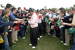 Ryder Cup..Sergio Garcia and Jose Maria Olazabal sign autographs between the 16th green and 17th tee..Photo: Eoin Clarke/ Newsfile.