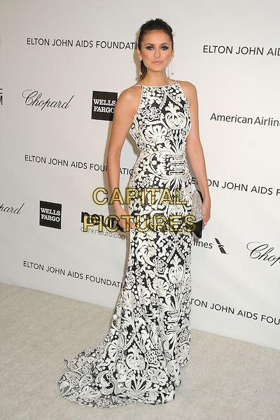 Nina Dobrev.21st Annual Elton John Academy Awards Viewing Party held at West Hollywood Park, West Hollywood, California, USA..February 24th, 2013.oscars full length sleeveless dress white  silver diamante black clutch pattern embroidered .CAP/ADM/BP.©Byron Purvis/AdMedia/Capital Pictures.