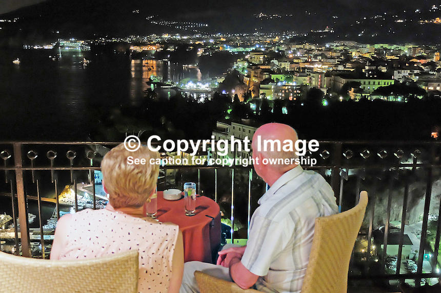 Night view from Hotel Bristol balcony, Sorrento, Italy, September, 2015, 201509041518<br />
