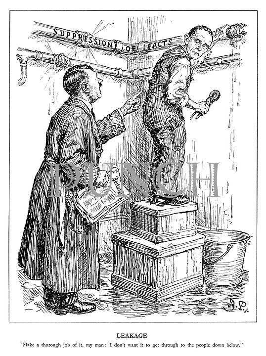 """Leakage. """"Make a thorough job of it, my man: I don't want it to get through to the people down below."""" (Hitler holds the latest copy of Zeitung newspaper while asking Goebbels as plumber to fix the Suppression of Facts leaky pipes)"""