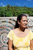 FRENCH POLYNESIA, Moorea. Portraitof Hinano Murphy, president of the Atitia Center.
