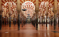 The hypostyle prayer hall, area built in the 10th century under Al-Mansur, 938-1002, in the Cathedral-Great Mosque of Cordoba, in Cordoba, Andalusia, Southern Spain. The hall is filled with rows of columns topped with double arches, a horseshoe arch below a Roman arch, in stripes of red brick and white stone. The first church built here by the Visigoths in the 7th century was split in half by the Moors, becoming half church, half mosque. In 784, the Great Mosque of Cordoba was begun in its place and developed over 200 years, but in 1236 it was converted into a catholic church, with a Renaissance cathedral nave built in the 16th century. The historic centre of Cordoba is listed as a UNESCO World Heritage Site. Picture by Manuel Cohen