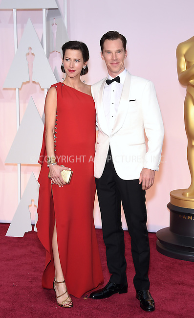 WWW.ACEPIXS.COM<br /> <br /> February 22 2015, Los Angeles Ca.<br /> <br /> Actor Benedict Cumberbatch (R) and Sophie Huntert arriving at the 87 th Annual Academy Awards at the Hollywood and Highland center on February 22 2015 in Hollywood CA.<br /> <br /> <br /> Please byline: Z15/ACE Pictures<br /> <br /> ACE Pictures, Inc.<br /> www.acepixs.com<br /> Email: info@acepixs.com<br /> Tel: 646 769 0430