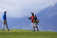 Lucas Bjerregaard (DEN) and caddy Brian Martin on the 7th green during Thursday's Round 1 of the 2017 Omega European Masters held at Golf Club Crans-Sur-Sierre, Crans Montana, Switzerland. 7th September 2017.<br /> Picture: Eoin Clarke | Golffile<br /> <br /> <br /> All photos usage must carry mandatory copyright credit (&copy; Golffile | Eoin Clarke)