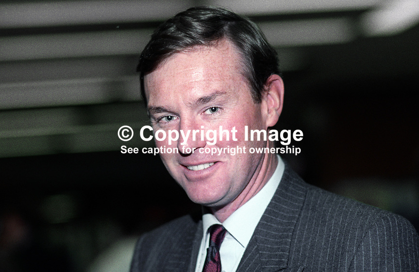 Andrew Robathan, MP, Conservative Party, UK, 19921073AR.<br /> <br /> Copyright Image from Victor Patterson,<br /> 54 Dorchester Park, <br /> Belfast, UK, BT9 <br /> <br /> t1: +44 28 9066 1296 (from Rep of Ireland 048 90661296)<br /> t2: +44 28 9002 2446 (from Rep of Ireland 048 9002 2446)<br /> <br /> m: +44 7802 353836<br /> <br /> e: victorpatterson@me.com<br /> www.victorpatterson.com<br /> <br /> Please see my Terms and Conditions of Use at www.victorpatterson.com. It is IMPORTANT that you familiarise yourself with them.<br /> <br /> Images used on the Internet must be visibly watermarked i.e. &copy; Victor Patterson<br /> within the body of the image and copyright metadata must not be deleted. Images <br /> used on the Internet have a size restriction of 4kbs and will be chargeable at current<br />  NUJ rates unless agreed otherwise.<br /> <br /> This image is only available for the use of the download recipient i.e. television station, newspaper, magazine, book publisher, etc, and must not be passed on to any third <br /> party. It is also downloaded on condition that each and every usage is notified within 7 days to victorpatterson@me.com<br /> <br /> The right of Victor Patterson to be identified as the author is asserted in accordance with The Copyright Designs And Patents Act (1988). All moral rights are asserted.