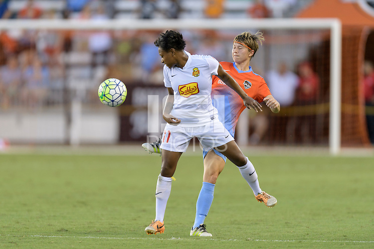 Houston, TX - Saturday July 30, 2016: Taylor Smith, Becca Moros during a regular season National Women's Soccer League (NWSL) match between the Houston Dash and the Western New York Flash at BBVA Compass Stadium.