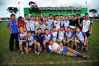 The Horowhenua-Kapiti team pose for a group photo after the Under-14 representative rugby match between Manawatu (green and white) and Horowhenua-Kapiti (red white and blue) at Arena Manawatu, Palmerston North, New Zealand on Saturday, 5 September 2015. Photo: Dave Lintott / lintottphoto.co.nz