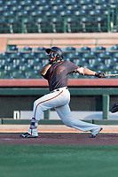AZL Giants Orange right fielder Franklin Labour (49) follows through on his swing during an Arizona League game against the AZL Rangers at Scottsdale Stadium on August 4, 2018 in Scottsdale, Arizona. The AZL Giants Black defeated the AZL Rangers by a score of 3-2 in the first game of a doubleheader. (Zachary Lucy/Four Seam Images)