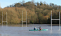 25/11/12 ..As flood waters continue to rise, Resi Harris (35) and Michael Shorthose (33) paddle their canoe over rugby pitches by Stapenhill Gardens, Burton on Trent. ..All Rights Reserved - F Stop Press.  www.fstoppress.com. Tel: +44 (0)1335 300098.