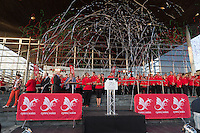 Wednesday September 10, 2014 <br /> Picture: Commonwealth Games: Homecoming for Team Wales in Cardiff<br /> RE: Team Wales athletes attend a Commonwealth Games homecoming ceremony at the Senedd, Cardiff, South Wales, United Kingdom.