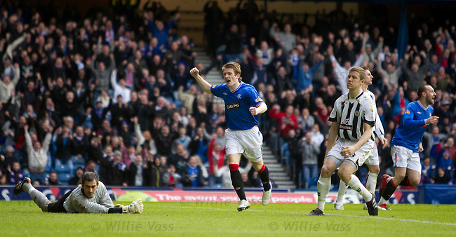 goalkeeper paul Gallagher and defender Chris Innes are guttes as Lee McCulloch's shot hits the back of the net for Rangers to take the lead