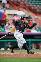 Erie SeaWolves second baseman Will Maddox (31) hits a double during a game against the New Hampshire Fisher Cats on June 20, 2018 at UPMC Park in Erie, Pennsylvania.  New Hampshire defeated Erie 10-9.  (Mike Janes/Four Seam Images)