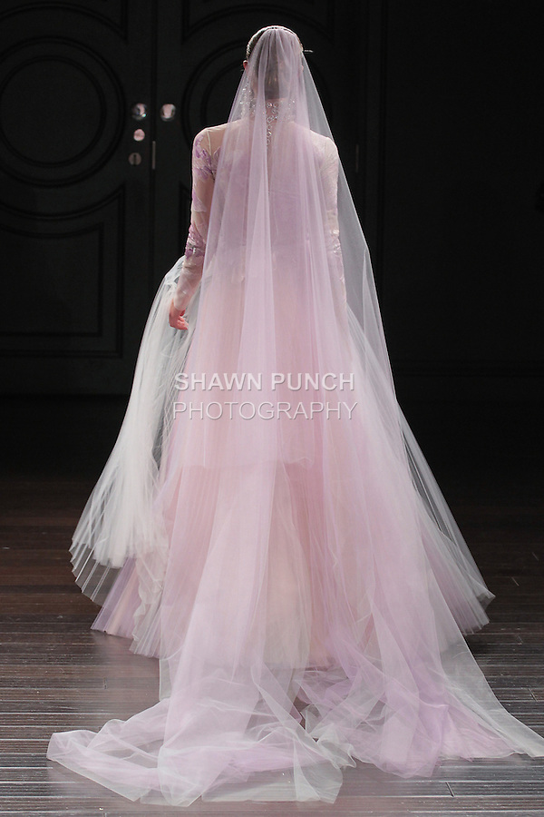 Model walks runway in an Eden bridal gown from the Naeem Khan Bridal Spring 2017 collection at 260 West 36 Street, during New York Bridal Fashion Week Spring Summer 2017 on April 16, 2016.