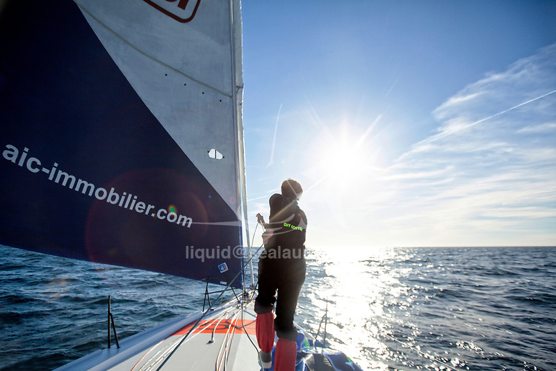 Onboard The Lift 40 ( Class 40 ) Black Mamba-Veedol with the skipper Yoann Richomme training for the Route du Rhum Destination Guadeloupe 2018.<br />The Lift 40 was built at Gepeto Composite and designed by Marc Lombard Yacht Design Group, Lorient Keroman Submarine Base, Brittany, France.