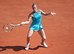 Nina Bratchikova (RUS) loses  at Roland Garros in Paris, France on June 2, 2012