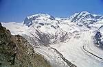 A view of the glacier and mountain scenery from the Gornergrat above the ski town of Zermatt, Switzerland.