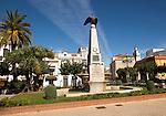 Trees and memorial in Plaza de la Angustas, Jerez de la Frontera, Spain