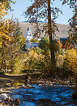 View of the courthouse steeple through fall colored trees along the Clark Fork River in Missoula