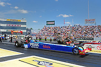 Jun. 2, 2012; Englishtown, NJ, USA: NHRA top fuel dragster driver T.J. Zizzo during qualifying for the Supernationals at Raceway Park. Mandatory Credit: Mark J. Rebilas-