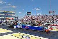 Jun. 2, 2012; Englishtown, NJ, USA: NHRA top fuel dragster driver T.J. Zizzo during qualifying for the Supernationals at Raceway Park. Mandatory Credit: Mark J. Rebilas-