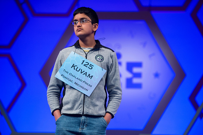 Speller No. 125, Kuvam Nirad Shahane, 13, eighth grader at Van Hoosen Middle School, Rochester Hills, Michigan, competes in the preliminary rounds of the Scripps National Spelling Bee at the Gaylord National Resort and Convention Center in National Habor, Md., on Wednesday, May 29, 2013. Photo by Bill Clark