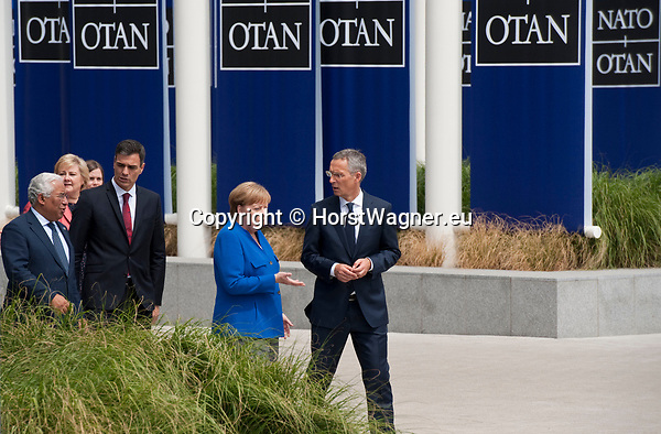 Belgium, Brussels - July 11, 2018 -- NATO summit, meeting of Heads of State / Government; here, German Chancellor Angela MERKEL with NATO General Secretary Jens STOLTENBERG, and Prime Ministers Antonio COSTA (Portugal) and Pedro SÁNCHEZ (Sanchez) (Spain) -- Photo © HorstWagner.eu