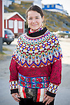 Portrait of Claudia and her traditional costume, Greenland singer, Nuuk, Greenland.