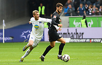 Goncalo Paciencia (Eintracht Frankfurt) gegen Fabian Lustenberger (Hertha BSC Berlin) - 27.04.2019: Eintracht Frankfurt vs. Hertha BSC Berlin, 31. Spieltag Bundesliga, Commerzbank Arena DISCLAIMER: DFL regulations prohibit any use of photographs as image sequences and/or quasi-video.